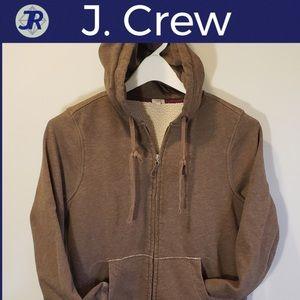 🕶Zip-Up Lined Hoodie Jacket-J. Crew-Brown Medium
